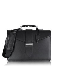 Giorgio Fedon 1919 New Class Leather Briefcase W Shoulder Strap Black