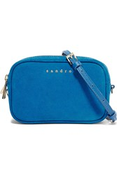 Sandro Alabama Leather And Suede Shoulder Bag Blue