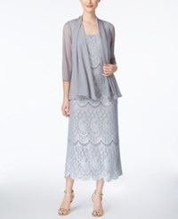 R And M Richards Lace Gown Jacket Slate