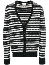 Saint Laurent Striped Print Cardigan Black