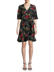 Design Lab Lord And Taylor Floral Wrap Dress Black