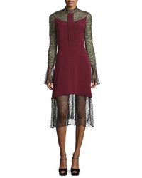 Prabal Gurung Long Sleeve Lace Combo Dress Burgundy