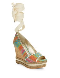 Donald J Pliner Naomi Embroidered Wedges Multi Colored