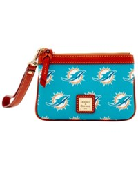 Dooney And Bourke Miami Dolphins Exclusive Wristlet Green
