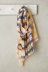 Anthropologie Embroidered Plaid Scarf Yellow Motif
