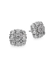 Judith Ripka La Petite White Sapphire And Sterling Silver Snowflake Stud Earrings
