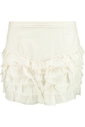 Isabel Marant Tiered Laddered Cotton Mini Skirt White