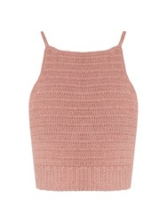 She Made Me Jannah Crochet Cropped Cami Top Light Pink