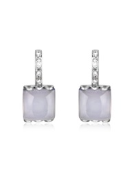 Mia And Beverly Chalcedony And Diamond 18K White Gold Earrings Blue