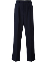 Ami Alexandre Mattiussi Box Pleated Wide Trousers Men Polyester Spandex Elastane Wool 40 Blue