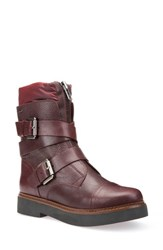 Geox Women's Rayssa Moto Boot Dark Burgundy Leather