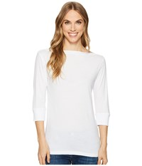 Allen Allen 3 4 Sleeve Boat Neck White Clothing