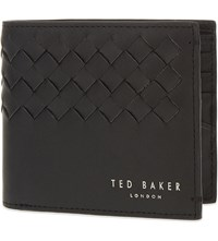 Ted Baker Woven Leather Billfold Wallet Black