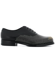 Emporio Armani Studded Lace Up Shoes Calf Leather Leather Rubber Black