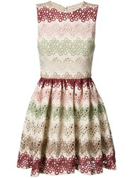 Alice Olivia Zigzag Lace Mini Dress Nude Neutrals