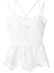 Perseverance London Lace Peplum Camisole Top White