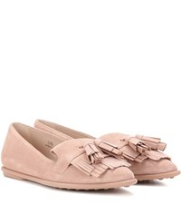 Tod's Ballerina Suede Loafers Pink