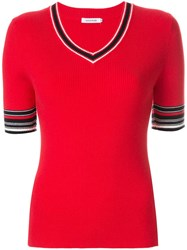 Guild Prime Contrast Short Sleeve Sweater Red