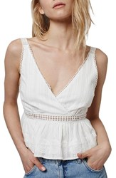 Women's Topshop Crochet Trim Plunge Crop Top