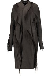 Rick Owens Faux Fur Trimmed Leather Coat Dark Gray