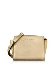 Michael Kors Pale Gold Metallic Saffiano Leather Selma Mini Messenger Bag