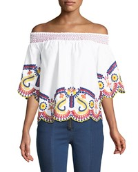 Romeo And Juliet Couture Off The Shoulder Embroidered Blouse White