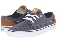 Vans Brigata Washed Herringbone Folkstone Gray Skate Shoes Blue