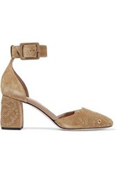Red Valentino Cammello Eyelet Embellished Suede Pumps Camel