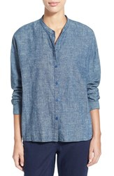 Women's Eileen Fisher Hemp And Organic Cotton Mandarin Collar Boxy Top Denim