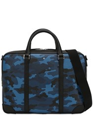 Montblanc Small Camouflage Leather Briefcase Case Blue Camo