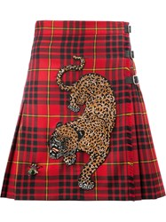 Gucci Beads Embroidery Checked Skirt Red