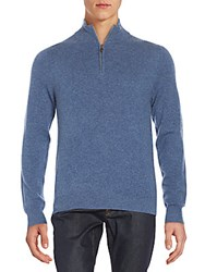 Saks Fifth Avenue Zip Up V Neck Cashmere Sweater Slate Blue