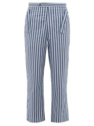 Bode Striped Side Tie Cotton Trousers Blue