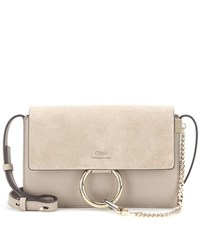 Chloe Faye Small Leather And Suede Shoulder Bag Grey