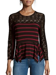Bcbgmaxazria Striped Asymmetric Lace Top Merlot Black