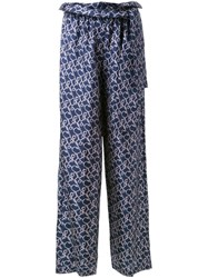 3.1 Phillip Lim Printed Satin Palazzo Pants Blue