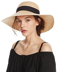 Aqua Raffia Floppy Sun Hat With Ribbon Trim 100 Exclusive Natural Black