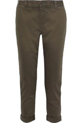 Current Elliott Woman The Confidant Cropped Stretch Cotton Slim Leg Pants Army Green