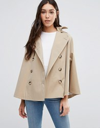 Cooper And Stollbrand Short Showerproof Cape With Hood In Stone Stone Beige