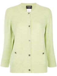 Chanel Vintage Logo Buttoned Up Knitted Top Green