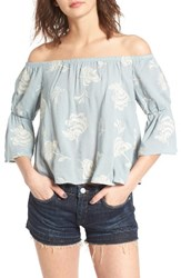 Lush Women's Floral Embroidered Off The Shoulder Top Slate