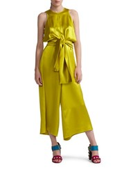 Cynthia Rowley Cropped Silk Self Tie Jumpsuit