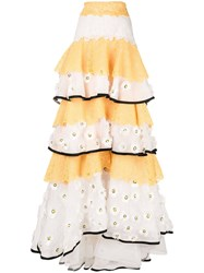 Carolina Herrera Tiered Ruffled Skirt Yellow