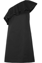 Rachel Zoe Kendall One Shoulder Embroidered Stretch Cotton Poplin Mini Dress Black