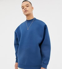 Asos White Tall Balloon Sweatshirt In Midnight Blue Scuba With Double Neck Blue Wing Teal