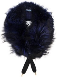 Blumarine Fox Fur Collar Blue