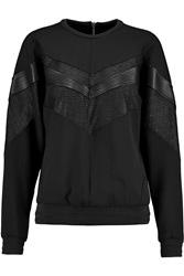 Rag And Bone Franklin Jacquard And Leather Paneled Stretch Pique Sweatshirt Black