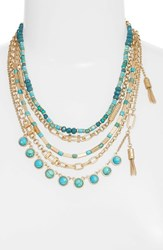 Treasure And Bond 'S Five Layer Stone Necklace Turquoise Gold