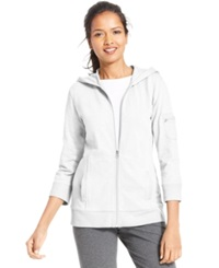 Style And Co. Sport Petite Three Quarter Sleeve Zip Front Hoodie Bright White