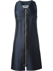 Etienne Deroeux Front Zip Mini Dress Blue